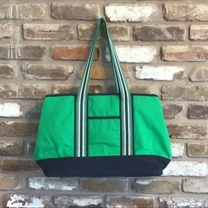 AMY COE Limited Edition Navy Green Canvas Tote Bag